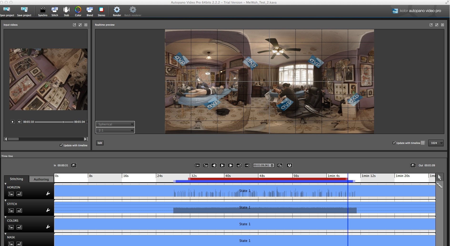 Working with Autopano Video editor